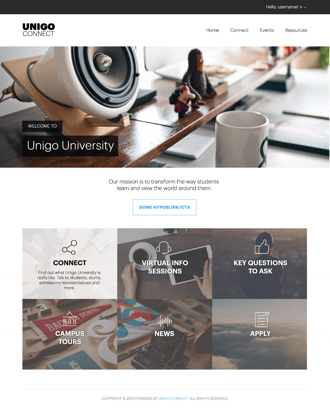 Unigo Connect Homepage concepts
